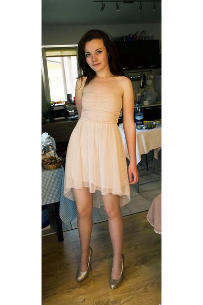 light pink Bershka dress - pink glittery Graceland pumps - no name stockings