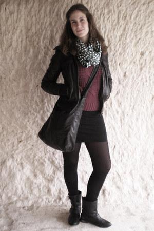 black leather Zara boots - black leather Bershka jacket