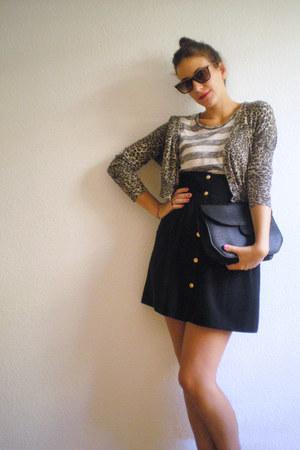 Zara skirt - vintage bag - vintage sunglasses - Zara t-shirt - Zara cardigan