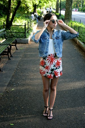 sky blue denim jacket Levis jacket - carrot orange Topshop shorts
