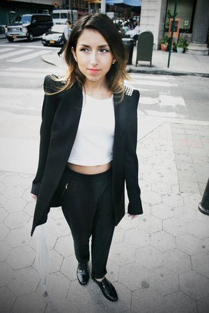 black Zara blazer - black kate spade loafers