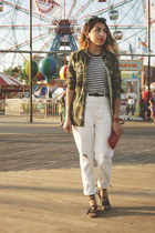 olive green camo Zara jacket - white Topshop jeans