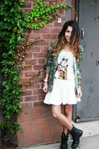 green Zara jacket - white Zara t-shirt - white H&M skirt
