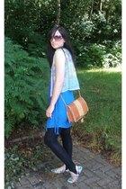 floral Topshop shoes - blue fringed Zara dress - black stirrup Matalan leggings