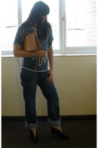 vintage top - vintage accessories - ted baker jeans - warehouse boots