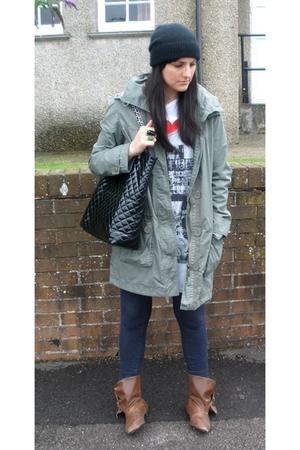 H&M hat - Dorothy Perkins coat - Ebay t-shirt - new look vest - Topshop jeans -