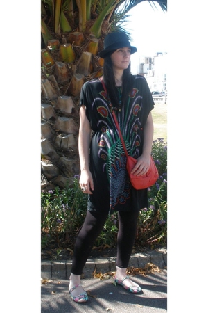 peacock Ebay dress - floral Topshop shoes - black H&M hat