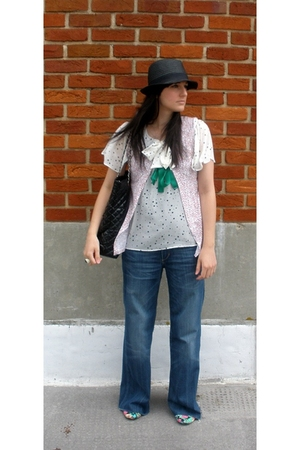 H&M hat - charity shop blouse - homemade - Matalan accessories - H&M jeans - Top