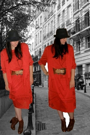 H&M hat - Ebay dress - vintage belt - H&M boots
