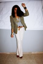 white Gap pants - green vintage blazer