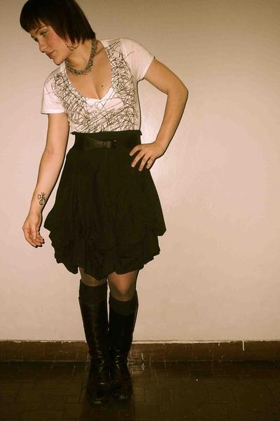 forever 21 shirt - Theory belt - sartore boots - Prada socks - luna luz skirt
