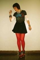 American Apparel skirt - equinox t-shirt - Steve Madden shoes - Aldo stockings