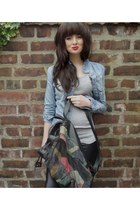 denim jacket Zara jacket - faux leather H&M leggings - rucksack vintage bag - ba