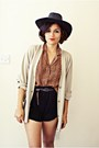 Market-hat-diy-shorts-vintage-blouse