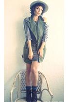 H&M dress - vintage coat - vintage hat - vintage boots