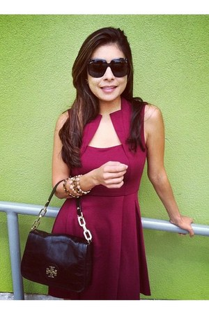 black Gucci glasses - crimson asos dress - black blacj tory burch bag