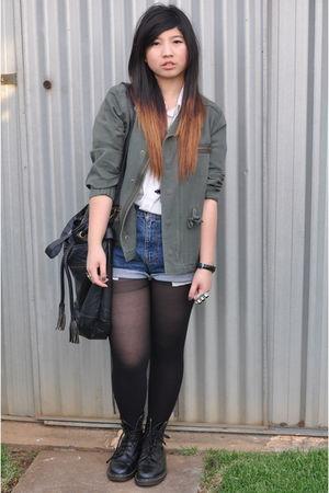 black Forever21 - Vintage DKNY shorts - white Jag blouse - subtitled jacket - bl