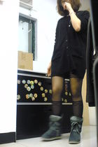 black from Korea cardigan - black night market stockings - gray night market boo