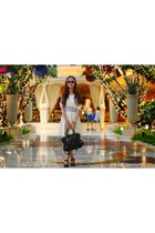 white lace Victorielle dress - balenciaga bag - Victorielle sunglasses