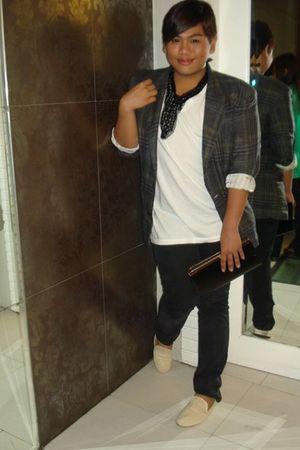 green Hugo Boss blazer - black Banna Republic pants - beige shoes - black purse