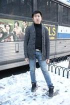 Armani Exchange cardigan - American Eagle jeans - banana republic sweater