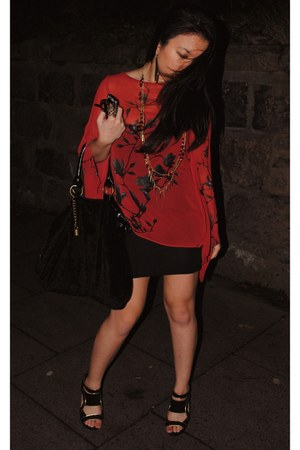 Miss Selfridge dress - Boohoo bag - Boohoo wedges - Topshop blouse
