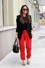 Black-helmut-lang-blazer-black-satchel-balenciaga-bag-red-silk-joie-pants