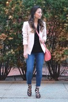 salmon Danielle Nicole bag - light pink fitted tailored Topshop blazer