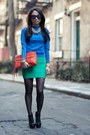 Blue-zara-sweater-carrot-orange-rebecca-minkoff-purse-chartreuse-bcbg-skirt
