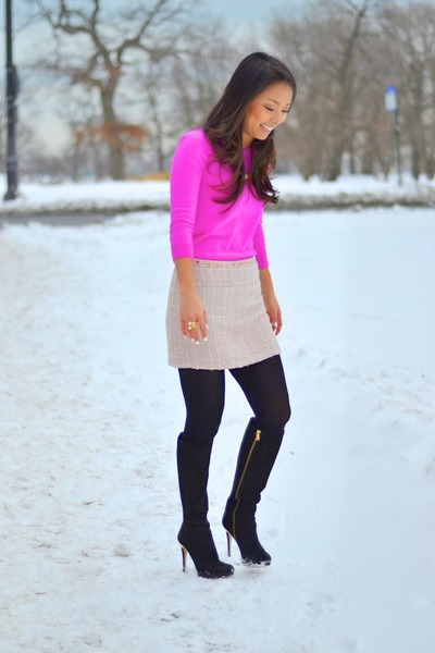 hot pink JCrew sweater - light pink tweed Forever 21 skirt