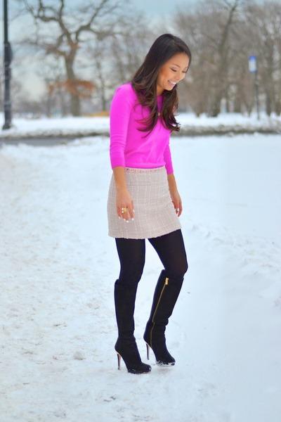 hot pink JCrew sweater - light pink tweed Forever 21 skirt