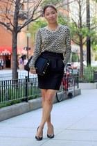 black brian atwood bag - black Zara skirt - light brown JCrew blouse