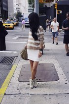 camel Nordstrom sweater - eggshell acne boots - cream H&M dress