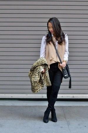leopard coat - black over the knee Ivanka Trump boots - black MIH Jeans jeans