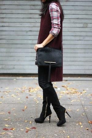 suede Michael Kors boots - plaid JCrew shirt - calf hair brian atwood bag