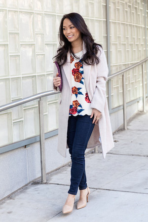 coral floral Anthropologie top - cream Forever 21 coat