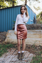 salmon rose gold Faith & Lola skirt - light brown ankle boots Miss Shop boots
