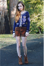navy nautical Temt cardigan - brown wedges Claires boots