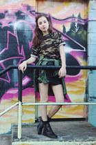 black cutout Lipstik boots - army green Chicwish jacket - black OASAP skirt