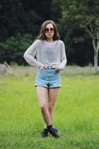 beige knit Cheap Monday sweater - black leather Lipstik boots