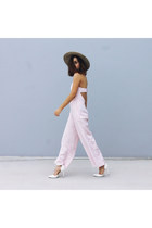 beige hat Glassons hat - light pink jumpsuit pink Blessed are the Meek romper
