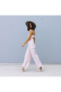 Beige-hat-glassons-hat-light-pink-jumpsuit-pink-blessed-are-the-meek-romper