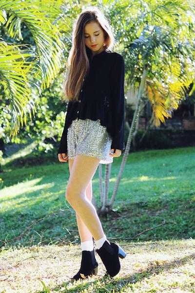 black black blouse MinkPink top - black heels Miss Shop boots