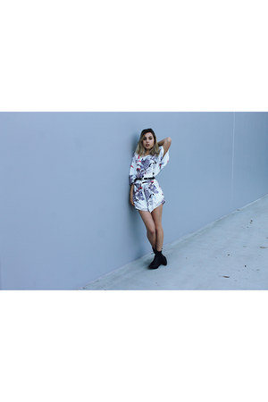 black Urban Outfitters boots - white jumpsuit Justa Local Store dress