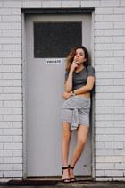 heather gray Topshop top - silver The Haute Pursuit skirt