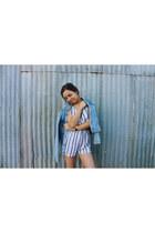sky blue denim jacket vintage jacket - white playsuit Glassons romper