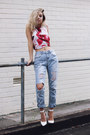 Sky-blue-living-doll-jeans-white-floral-crop-top-blessd-are-the-meek-top