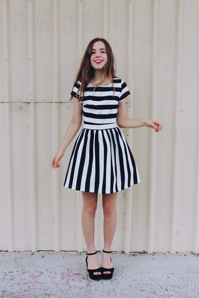 black wedges Jo Mercer shoes - black striped Lulus dress