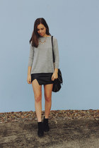 black ankle boots boots boots - heather gray cutout asos sweater
