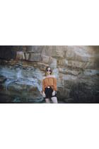 orange off shoulder beginning boutique top - black high waisted Free Peopl skirt